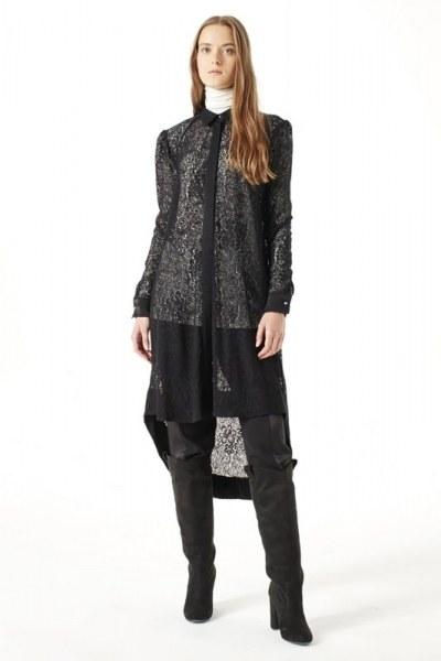 فستان تونيك بحزام من الدانتيل (أسود) - Thumbnail