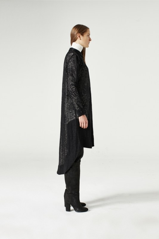 MIZALLE Lace Sash Tunic Dress (Black) (1)