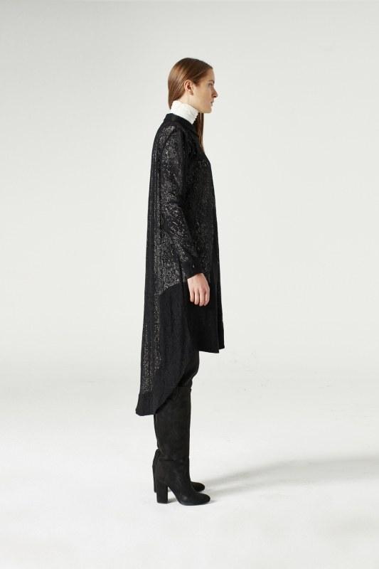 MIZALLE Dantel Kuşaklı Tunik Elbise (Siyah) (1)