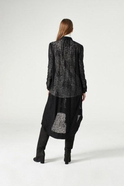 Dantel Kuşaklı Tunik Elbise (Siyah) - Thumbnail