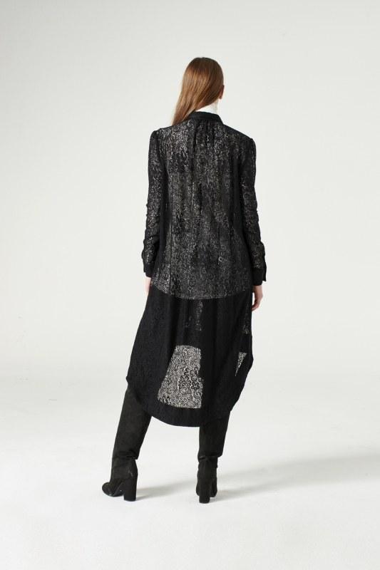 Dantel Kuşaklı Tunik Elbise (Siyah) 6256