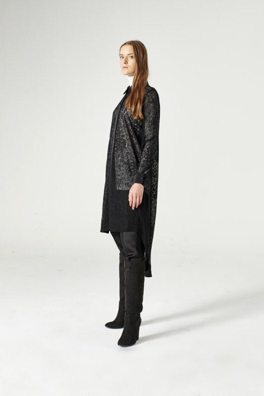 Dantel Kuşaklı Tunik Elbise (Siyah) 6257