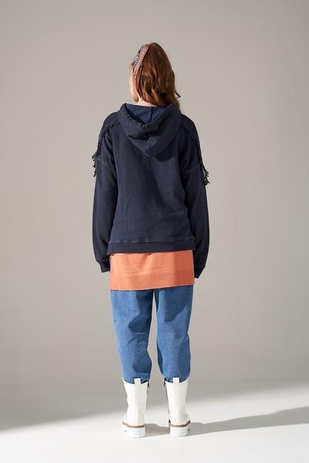 Dantel Özel Yıkama Sweatshirt (İndigo) - Thumbnail