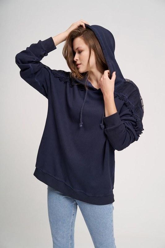 Dantel Özel Yıkama Sweatshirt (İndigo)
