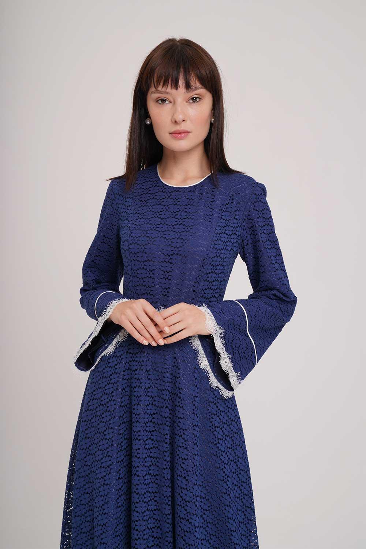 Mizalle - Dantel Şerit Detaylı Lacivert Abiye Elbise
