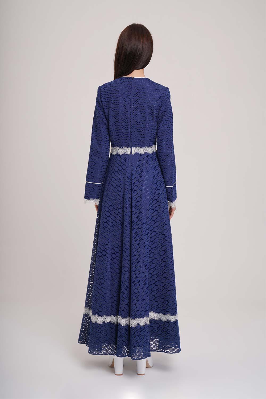 Dantel Şerit Detaylı Lacivert Abiye Elbise - Thumbnail