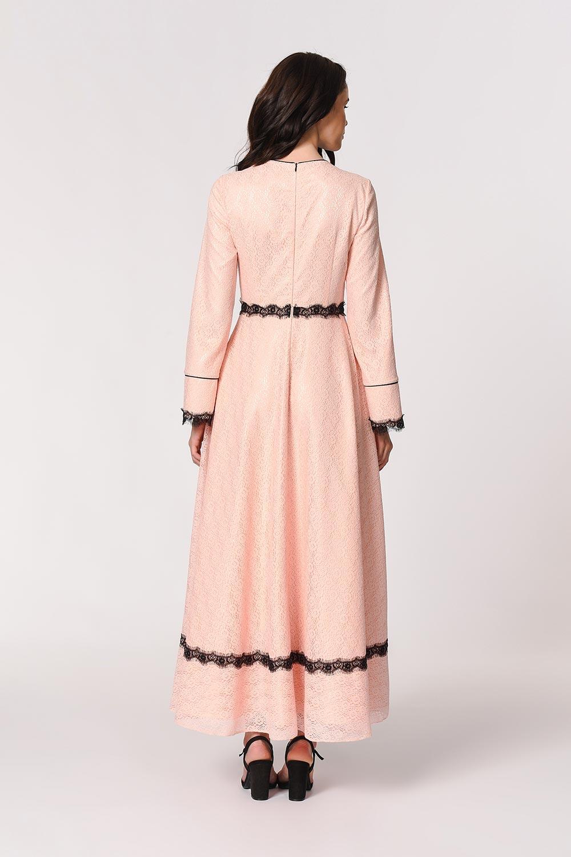 Dantel Şerit Detaylı Pembe Abiye Elbise