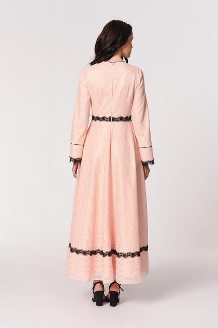 Dantel Şerit Detaylı Abiye Elbise (Pembe) - Thumbnail