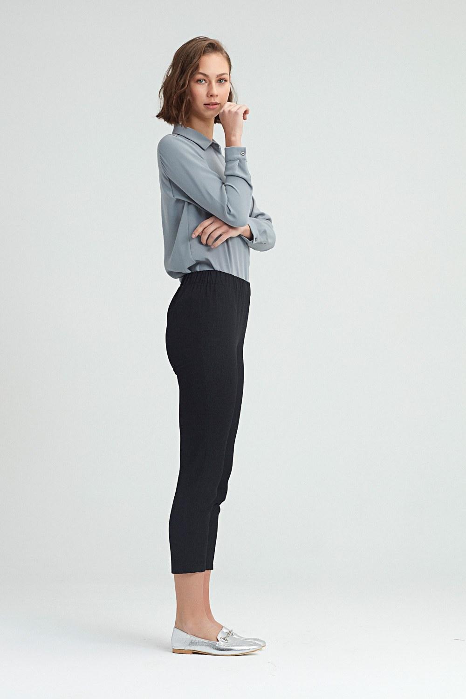 MIZALLE بنطلون بساق ضيق(أسود) (1)