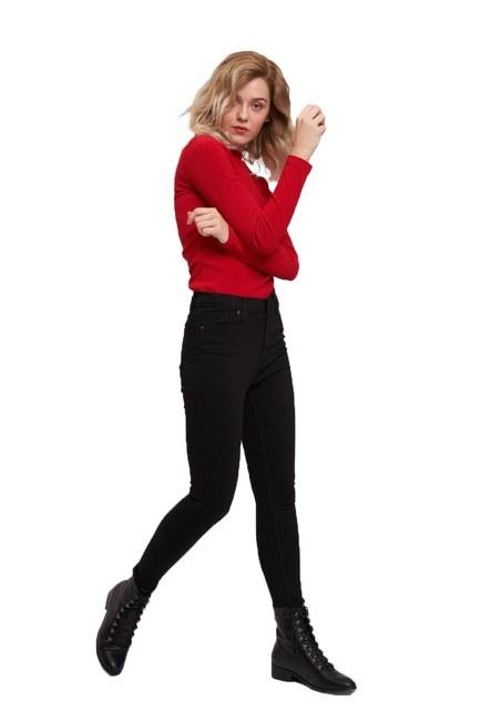 Mizalle - Dar Paça Denim Pantolon (Siyah)