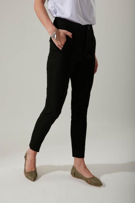 Dar Paça Kumaş Siyah Pantolon - Thumbnail
