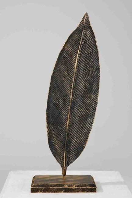 Defne Yaprağı Dekoratif Obje Küçük (Siyah) - Thumbnail