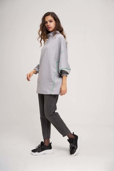 MIZALLE YOUTH - Degaje Neck Sweatshirt (Grey) (1)