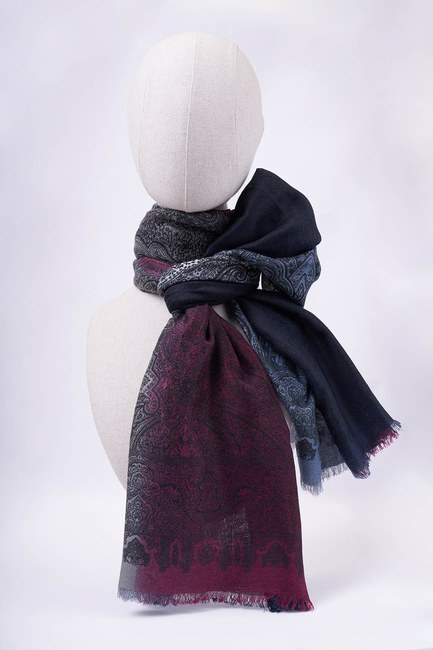 MIZALLE - Gradient Patterned Shawl (Navy Blue) (1)