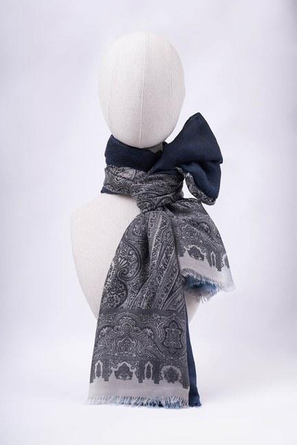 MIZALLE - Gradient Patterned Shawl (Blue) (1)