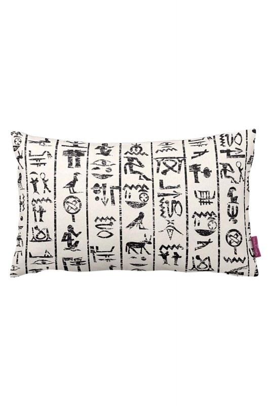 Hiyeroglif Dekoratif Yastık Kılıfı (33X57)
