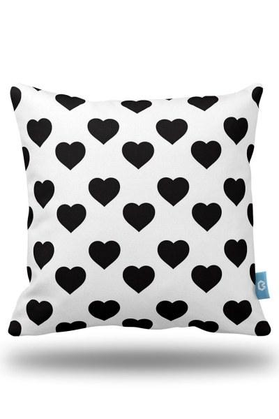 Heart Patterned Decorative Pillow Case (43X43) - Thumbnail