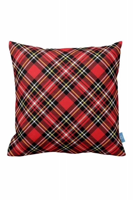 Red Plaid Decorative Pillow Case (43X43)