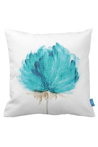 Decorative Pillow Case With Turquoise Flowers (43X43) - Thumbnail