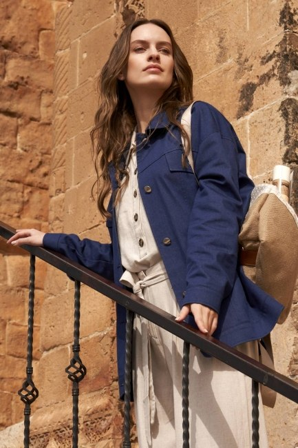 MIZALLE - Denim Çıtçıtlı Ceket (İndigo) (1)