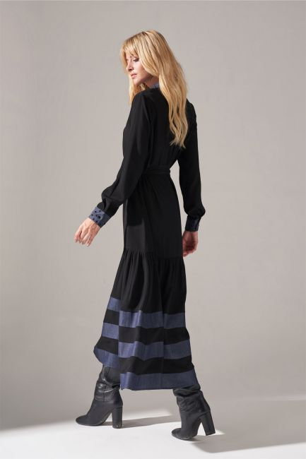 Denim Detaylı Gömlek Elbise (Siyah) - Thumbnail