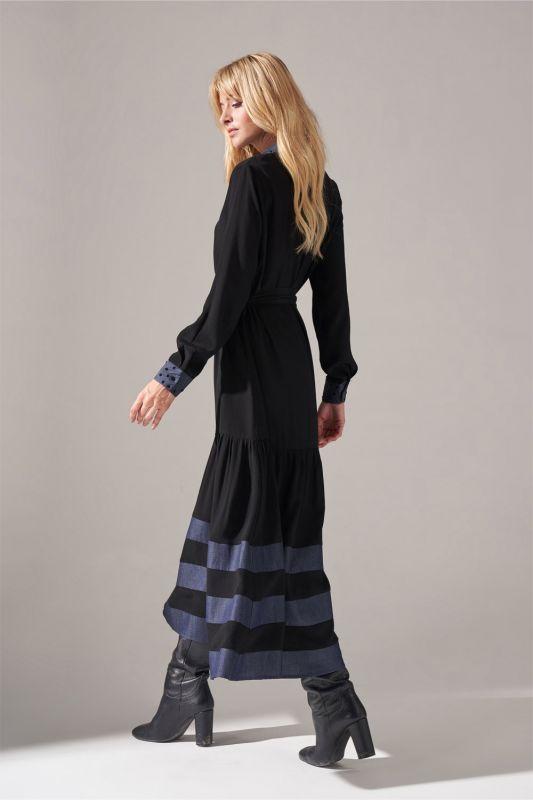 Denim Detaylı Gömlek Elbise (Siyah)