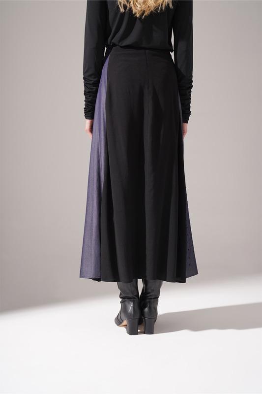 Denim Detaylı Maroken Etek (Siyah)