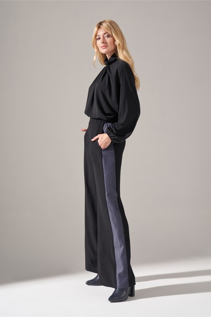 Denim Detaylı Pantolon (Siyah) - Thumbnail