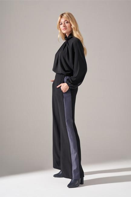 Denim Detaylı Pantolon (Siyah)