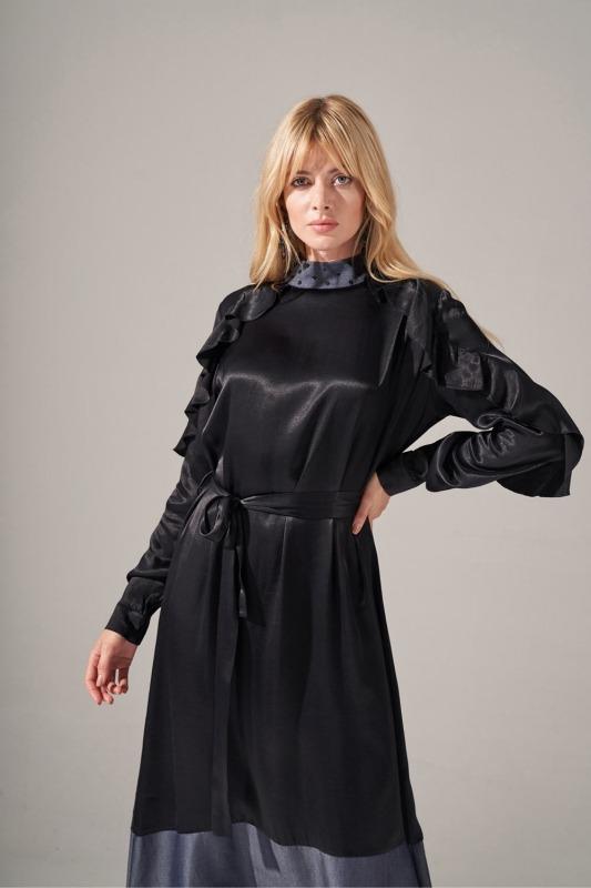 Denim Detaylı Saten Elbise (Siyah)