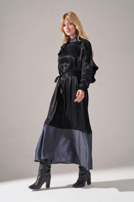 Denim Detaylı Saten Elbise (Siyah) - Thumbnail