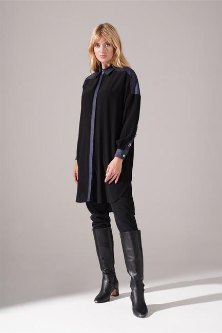 Mizalle - Denim Detaylı Siyah Tunik