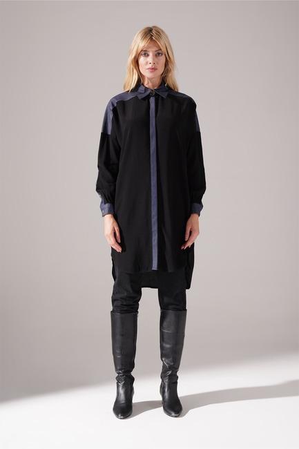 Mizalle - Denim Detaylı Tunik (Siyah) (1)