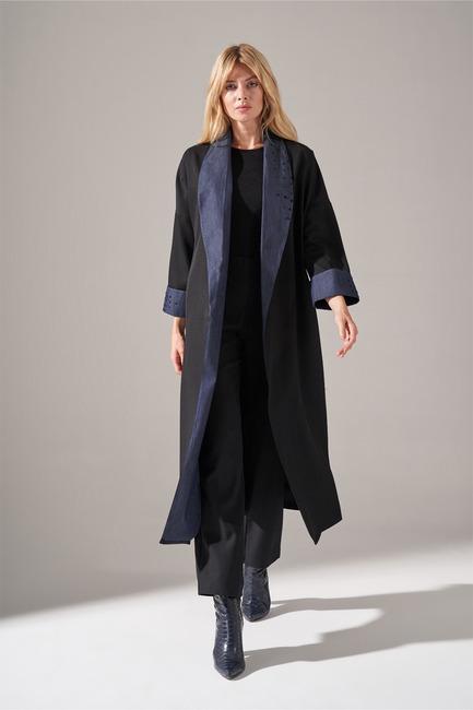 Denim Şal Yaka Kimono (Siyah) - Thumbnail