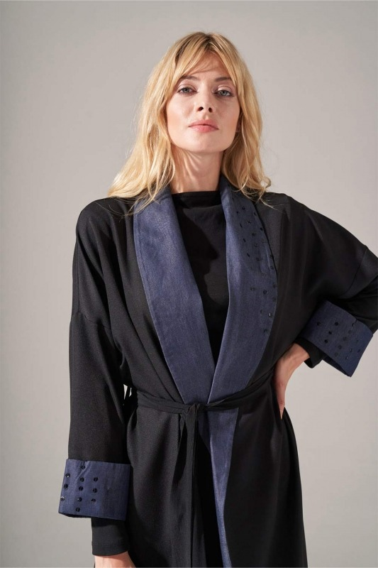 Denim Şal Yaka Kimono (Siyah)