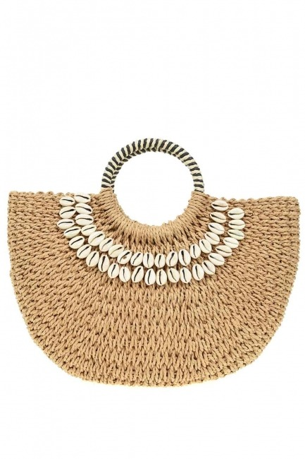MIZALLE - Sea Shell Detail Straw Hand Bag (Taba) (1)