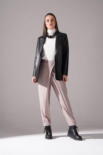 Mizalle - Deri Detaylı Ceket (Siyah)