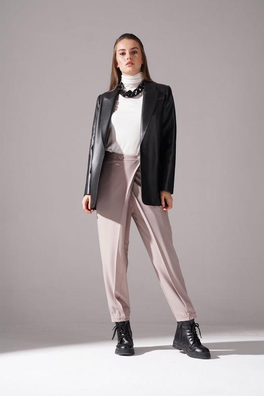 Deri Detaylı Ceket (Siyah)