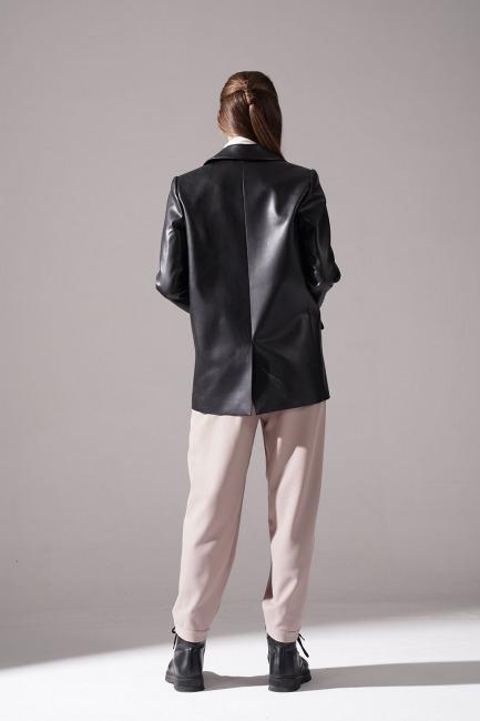 Deri Detaylı Ceket (Siyah) - Thumbnail