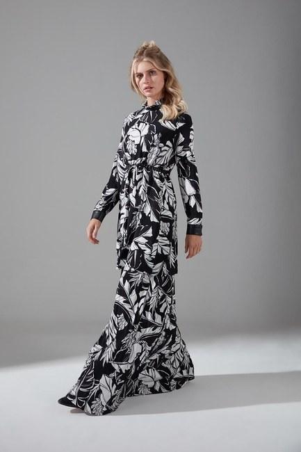 Mizalle - Deri Detaylı Desenli Elbise