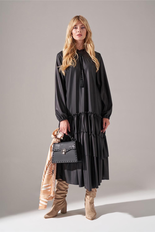 Mizalle - Deri Detaylı Kat Kat Elbise (Siyah)