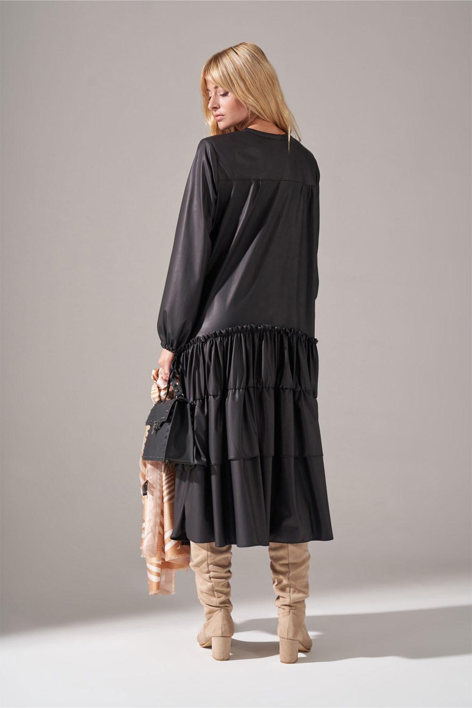 Deri Detaylı Kat Kat Siyah Elbise