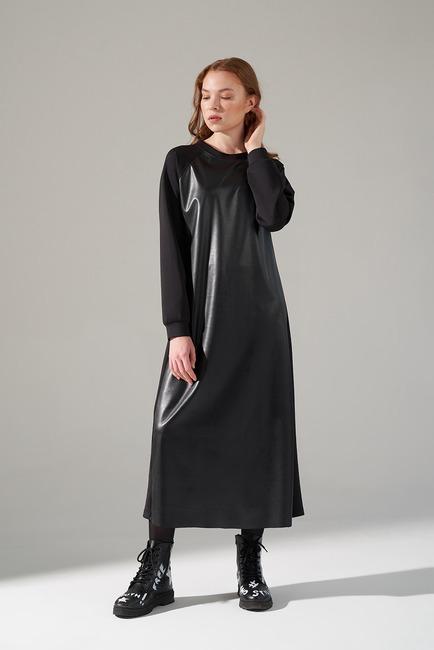 Mizalle - Deri Detaylı Scuba Elbise (Siyah)