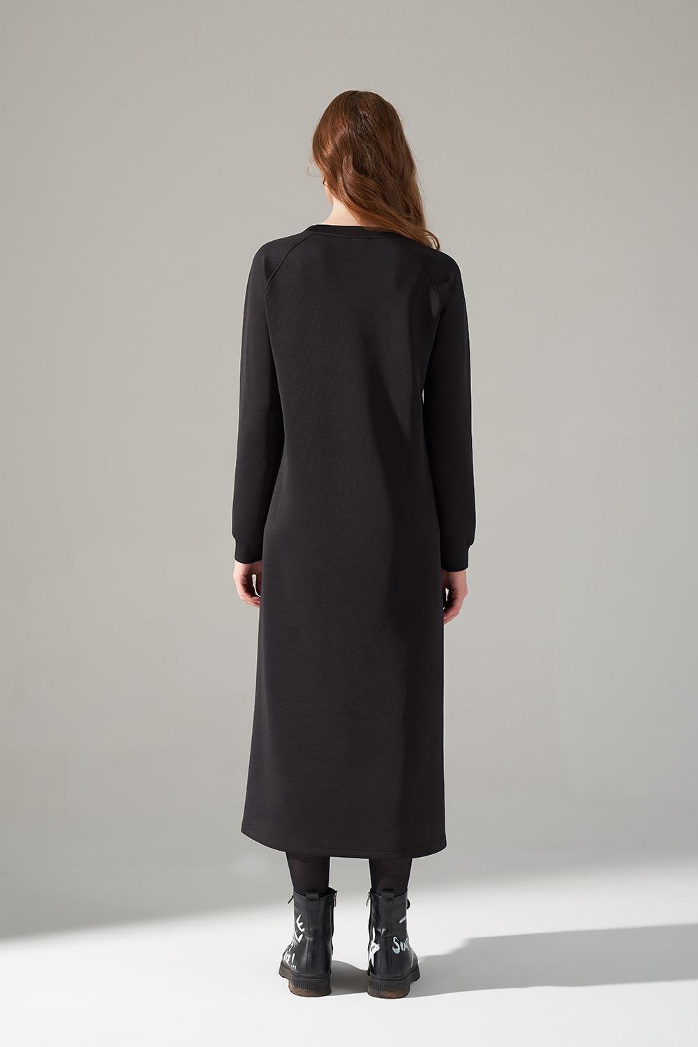 Deri Detaylı Scuba Siyah Elbise