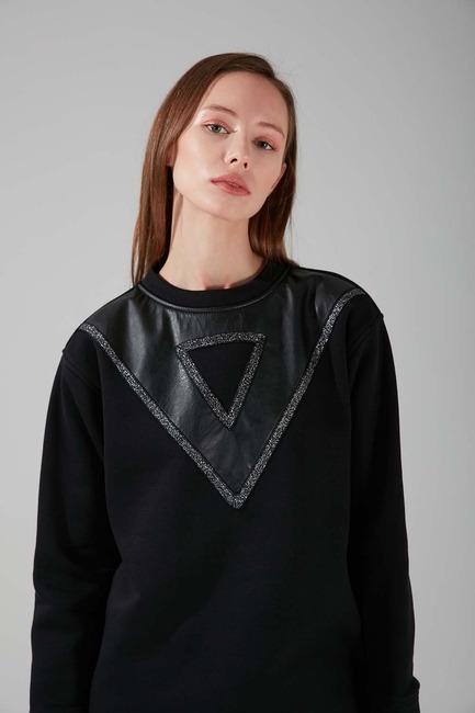 Deri Detaylı Sweatshirt (Siyah) - Thumbnail