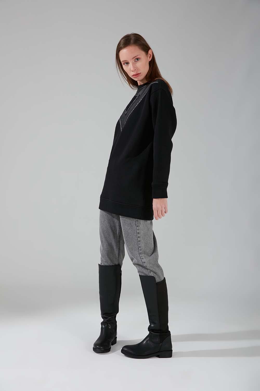 Deri Detaylı Siyah Sweatshirt