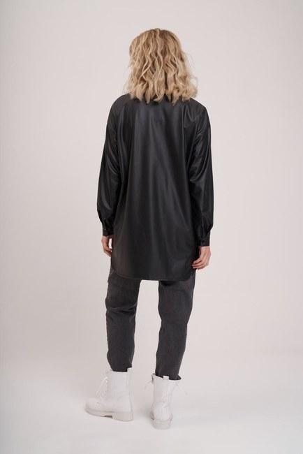 Deri Görünümlü Tunik Gömlek (Siyah) - Thumbnail