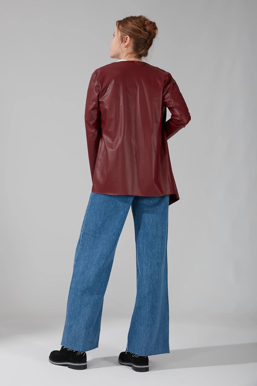 Deri Hırka Ceket (Bordo) - Thumbnail