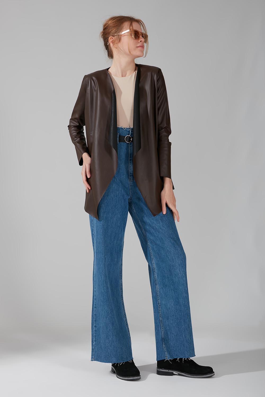 Deri Hırka Ceket (Kahverengi) - Thumbnail