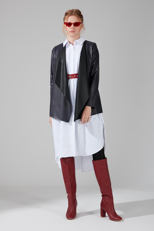 Mizalle - Deri Hırka Ceket (Lacivert)